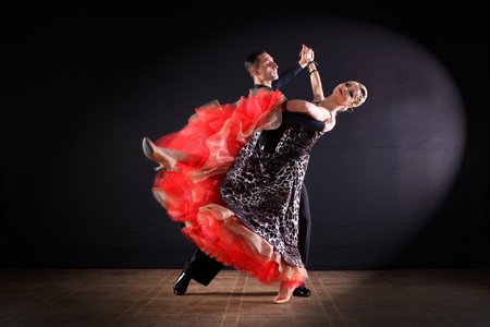 skill: dancers in ballroom isolated on black background