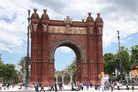 BARCELONA SPAIN - JUNE 9: At Arch of Triumph in ciutadella park, Barcelona, Spain on June 9, 2013. Barcelona is one of the most populated metropolitan areas in Europe