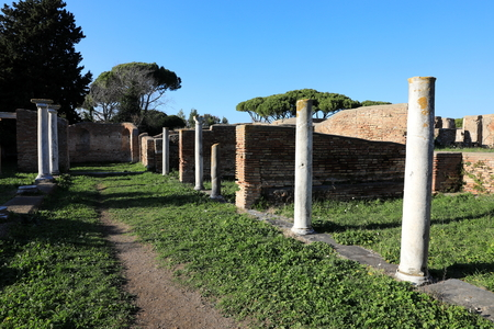 Remains of Ancient Ostia town built on both the sea and the Tiber river near Rome, Italy