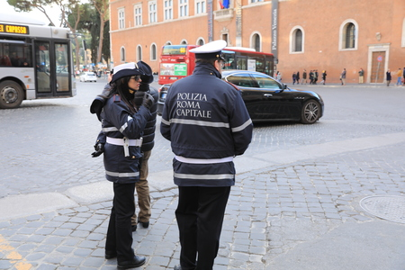 ROME - JAN 3: Rome police control the street in Rome the 3 January 2019, Italy. Rome is one of the most populated metropolitanareas in Europe Standard-Bild - 122236504