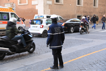 ROME - JAN 3: Rome police control the street in Rome the 3 January 2019, Italy. Rome is one of the most populated metropolitanareas in Europe Standard-Bild - 122236508