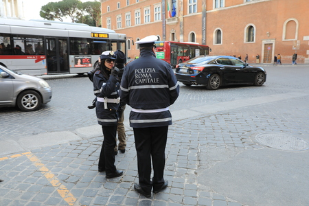 ROME - JAN 3: Rome police control the street in Rome the 3 January 2019, Italy. Rome is one of the most populated metropolitanareas in Europe Standard-Bild - 122236498
