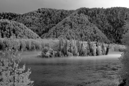 Fog at Katun river, Altai State Natural Biospheric Reserve, Russia.