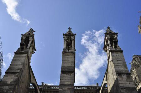 Gargoyles on the walls of Notre Dame de Paris.