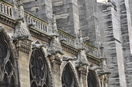 Gargoyles on the walls of Notre Dame de Paris. Stock Photo