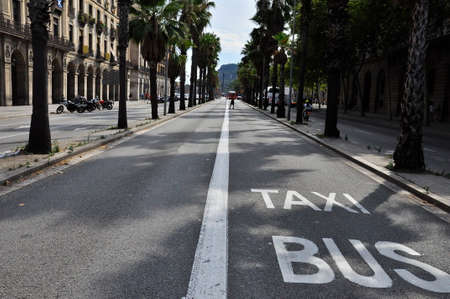 An asphalt road in Barcelona with a white dividing line and taxi and bus signs.