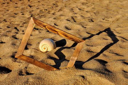 Seashell in a wooden photo frame on a sandy beach.