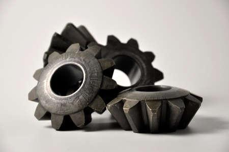 Metal cogs cogwheels. Set of gears.