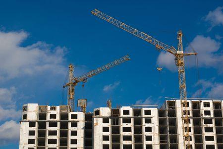Building site under blue sky. This picture symbolizes: rapid growth, development, construction process, design realization. Stock Photo - 2817927
