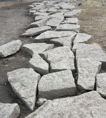 Path of old granite stones, with shallow depth of field Stock Photo - 2986898