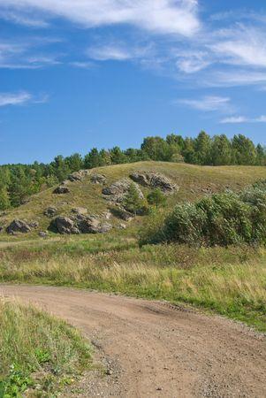 earth road: Paesaggio con la terra della strada in primo piano.