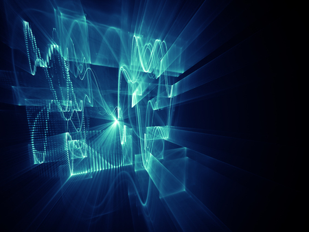 Abstract background element. Three-dimensional composition of wave shapes, grids and beams. Electronics and media concept. Blue and black colors. Imagens