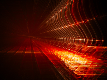 art processing: Abstract background element. Fractal graphics. Three-dimensional composition of glowing grids and wave forms. Information technology or science concept. Red and black colors. Stock Photo