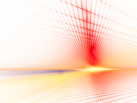 perspective grid: Abstract background element. Grid planes perspective. Retro sci fi style. Time and space concept. Red and yellow colors on white. Stock Photo