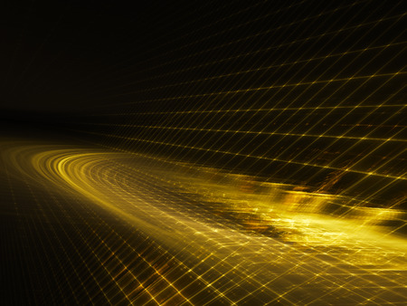 synthesis: Abstract background element. Three-dimensional composition of glowing grids and wave shapes. Science and technology concept. Golden yellow and black colors. Stock Photo