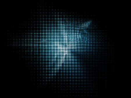 Abstract background element. Distortion of regular grid pattern. Technology glitch concept. Blue toned image.