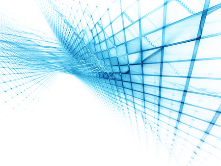 Abstract background element. Three-dimensional composition of wave shapes, grids and beams. Electronics and media concept. Blue and white colors.