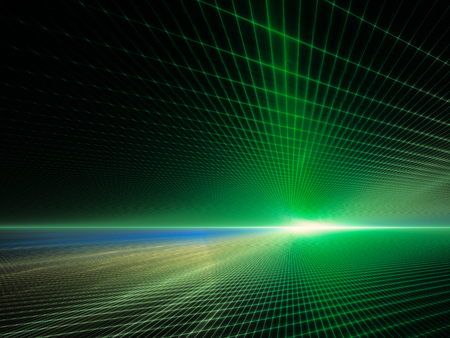 perspective grid: Abstract background element. Grid planes perspective. Retro sci fi style. Time and space concept. Green and black colors.