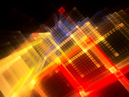 Abstract background element. Fractal graphics series. Three-dimensional composition of repeating grids. Information technology concept. Color image on black backdrop.
