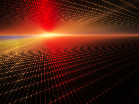 perspective grid: Abstract background element. Grid planes perspective. Retro sci fi style. Time and space concept. Red and yellow colors on black. Stock Photo