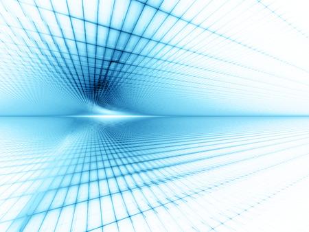 Abstract element als achtergrond. Raster vlakken perspectief. Retro scifi-stijl. Tijd en ruimte concept. Blauwe en witte kleuren. Stockfoto