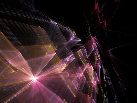 Abstract background element. Three-dimensional composition of wave shapes, grids and beams. Electronics and media concept. Blue, red and yellow colors on black.