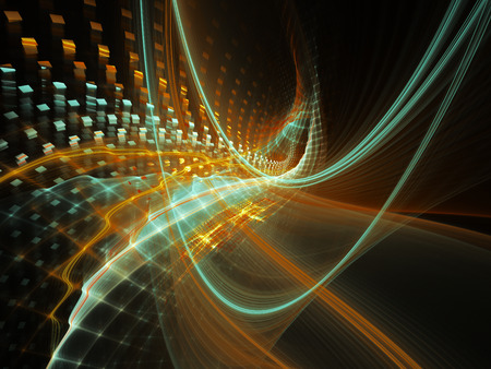 art processing: Abstract background element. Three-dimensional composition of wave shapes, grids and particles. Science and technology concept. Cyan and orange on black colors.