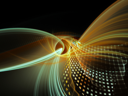 Abstract background element. Three-dimensional composition of wave shapes, grids and particles. Science and technology concept. Cyan and orange on black colors.