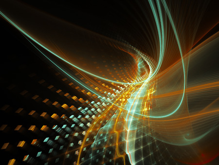 synthesis: Abstract background element. Three-dimensional composition of wave shapes, grids and particles. Science and technology concept. Cyan and orange on black colors.