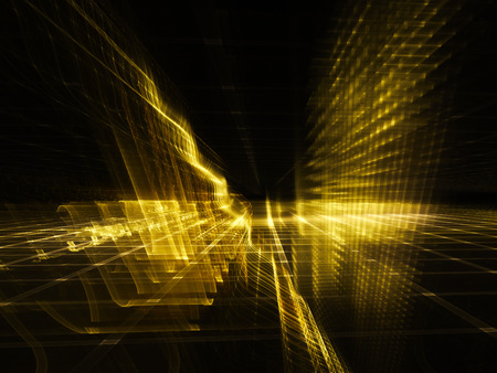 Abstract background element. Three-dimensional composition of glowing grids and wave shapes. Science and technology concept. Golden yellow and black colors. Stock Photo