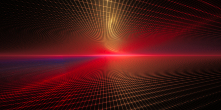 perspective grid: Abstract background element. Grid planes perspective. Retro sci fi style. Time and space concept. Red and black colors.