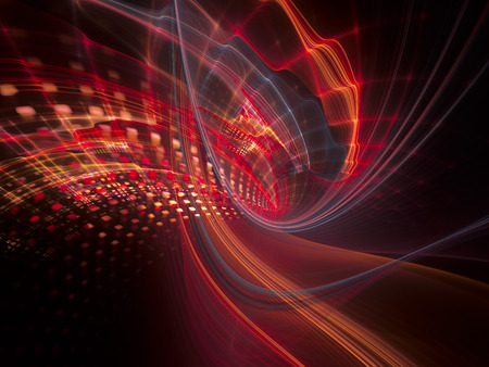 synthesis: Abstract background element. Three-dimensional composition of wave shapes, grids and particles. Science and technology concept. Red and black colors. Stock Photo