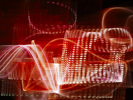 synthesis: Abstract background element. Three-dimensional composition of glowing wave shapes, and halftone effects. Technology and science concept. Red and black colors.