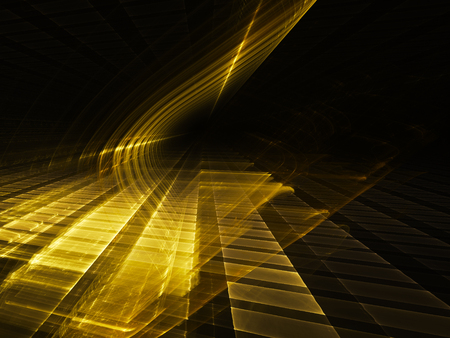 art processing: Abstract background element. Three-dimensional composition of glowing grids and wave shapes. Science and technology concept. Golden yellow and black colors. Stock Photo