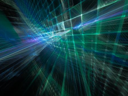 Zusammenfassung Hintergrund Element. Dreidimensionale Zusammensetzung von Wellenformen, Gitter und Balken. Elektronik und Medienkonzept. Farben blau und schwarz.
