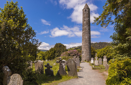 Round tower and semetery in Glendalough, Ireland