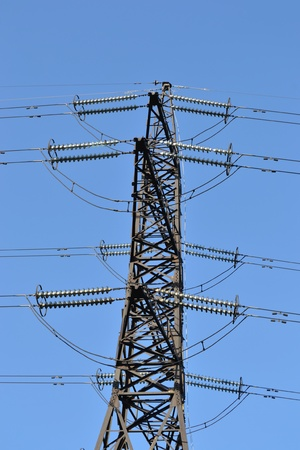 Power transmission tower carrying electricity from different parts of country photo