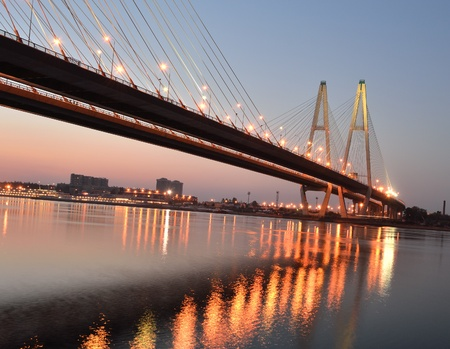 Big cable-stayed bridge in night, St.Petersburg, Russia Stock Photo - 9777801