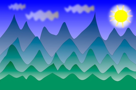 Panorama of mountains. Vector illustration Stock Vector - 9777837