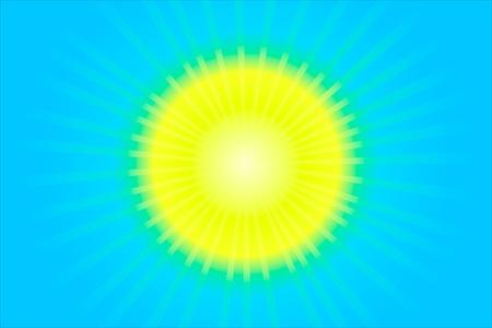 The hot summer sun and blue sky Vector