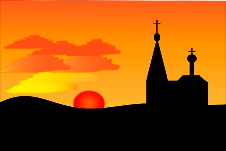 orthodoxy: Vector image. An orange sunset and orthodoxy church  .