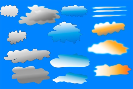 Clouds collection against blue sky. Vector illustration. Stock Vector - 9777868
