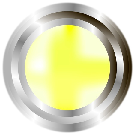 A large, metallic, yellow button Stock Vector - 9777903