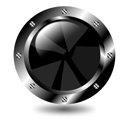 Black button on white background Vector