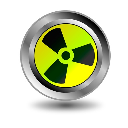 radioactive danger yellow button. Caution radiation. Stock Vector - 9917215