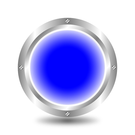 A large, metallic, blue button