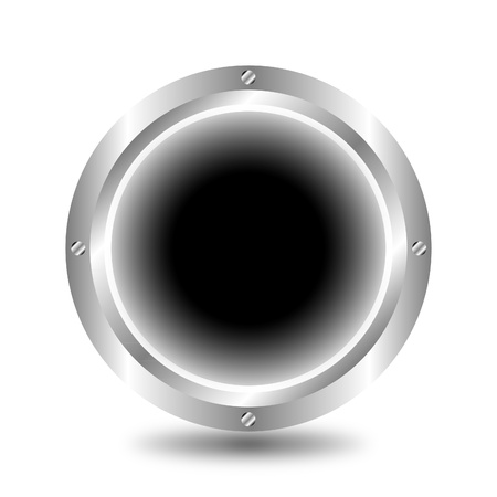A large, metallic, black button Stock Vector - 9917222