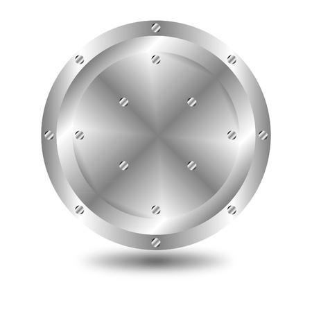 metallic button: A large, metallic  button  Illustration