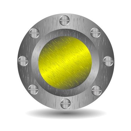 A large, metallic  button  Vector