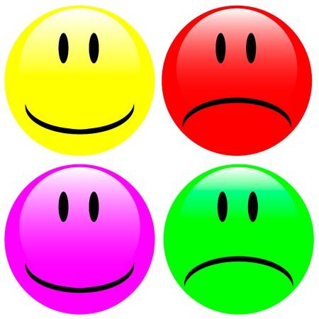 Four expression face button badge Stock Vector - 9917389